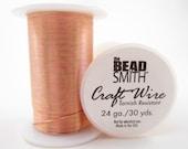 24gauge 30yards Copper Round Bead Smith Craft Wire-Qty.1 spool (F835)