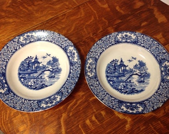 Flow Blue Olde Alton Ware Soup Plates Vintage Gorgeous