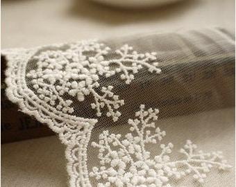white lace fabric trim, snowflake lace trim, floral lace trim, antique lace trim, 2 yards