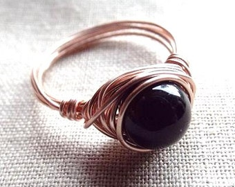 Black Obsidian Ring, Rose Gold Ring, Black Stone Ring, Gothic Ring, Wire Wrapped Ring, Simple Ring, Chakra Jewelry, Cute Ring, Black Ring