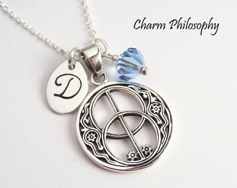Vesica Piscis Necklace - Double Peace Sign Pendant - 925 Sterling Silver - Personalized Initial Charm and Birthstone Bead