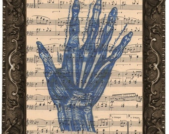 Violinist Human Hand Fidler's antique upcycled sheet music score book page recycled dictionary fine art print vintage Violinist Human Hand