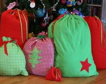 Christmas Gift Bags Red and Green Collection - 6 Fabric Bags