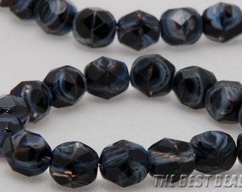 30pcs Black with Grey Lines Faceted Round 6mm - special listing for Connie Cavin