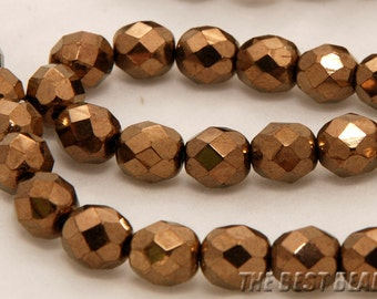 30pcs Copper Faceted Round Czech Glass Fire Polished Beads 8mm