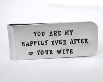 Husband Gift Money Clip- Wedding Gift for Groom- Groomsmen Personalized Money Clip Gift