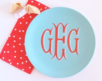 Fishtail Monogram Melamine Plate