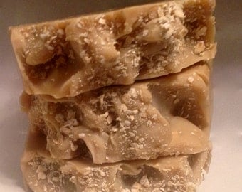Oatmeal, Milk & Honey Coconut Milk Artisan Soap, Exfoliating Soap - Shea and Cocoa Butter, Pure Silk
