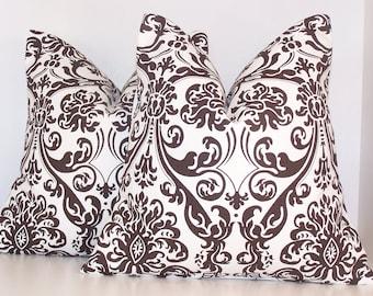 Pair Brown Pillow Covers, PILLOW COVER, Throw Pillow, Decorative Pillow,  18 x 18, Brown Damask, Brown Damask Pillows