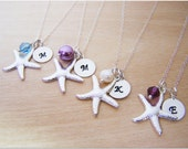 Monogrammed Initial Hand Stamped, Silver Starfish and Glass Pearl Personalized Bridesmaid Necklace