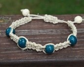 Hemp Teal Ceramic and Wooden Beaded Womens Beaded Macrame Bracelet