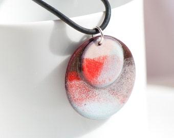 Copper Enamel Pendant Necklace, Pink Red Blue, Handmade Statement Pendant Necklace, Torch-Fire Enamel, Disc Pendant, Colorful Pendant, OOAK