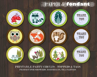 """INSTANT DOWNLOAD - PRINTABLE Topper Circles - """"Thank you"""" - Woodland theme cupcake toppers / party tags"""