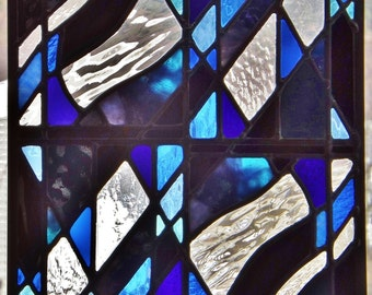 Stained Glass Panel Abstract Winter Blues Black Geometric Design Clear Textured Glass Window Wall Hanging Free Domestic Shipping