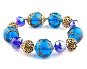 Cobalt Blue Murano Glass Beaded Stretch Fashion Bracelet with Gold Spacers and Beads