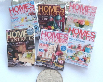 dollhouse magazines home antiques 12th scale miniature  x 6  for dollhouse not life sized