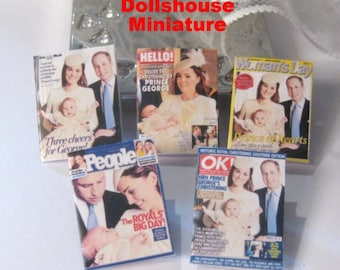 dollhouse  english royal prince george christening magazines x 5  miniature 12th scale lakeland artist
