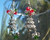 Christmas Tree Earrings with Swarvoski Crystals - Holidays - Winter, hand made