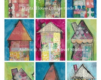 9 Little Houses ATC Backgrounds