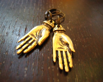 golden frida kahlo hands earrings, funky jewelry