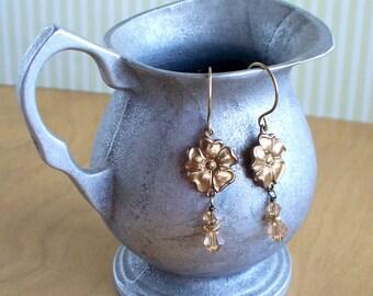 Sybil - Brass And Swarovski Crystal Flower Earrings