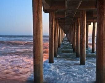 California Beach Sunset Under Pier - 8x10 to 24x36 - Fine Art Print Ready to Frame
