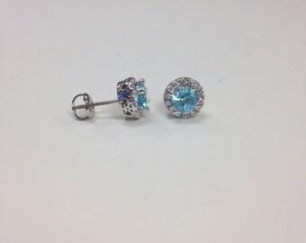 Halo Aquamarine earrings