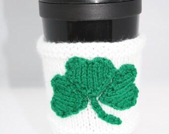 St Patricks day cup cuff spring celebrations reusable cup cuff clover cuff shamrock cup cuff