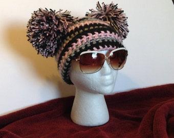 Pompom hat pattern, pom pom hat pattern, women pompom hat, crochet pompom hat pattern, adult pompom beanie hat, crochet beanie hat pattern