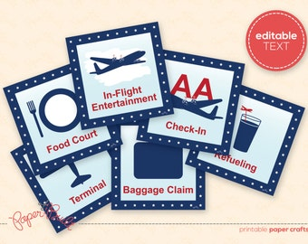 Printable Airplane Birthday Party Sign Package from the All-American Airplane Party Collection by Paper Built