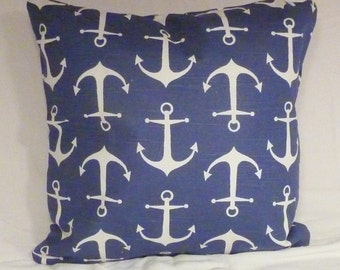 Nautical Pillow Cover - Premier Prints Sailor Slub fabric - Navy White - Anchors - Nautical Pillow Cover - Beach house decor