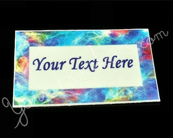 "Aurora Borealis  - ""Iron On"" or ""Sew In"" - Cotton Fabric Labels (White) - For Crochet, Knit, Sew and Quilt Heirlooms"