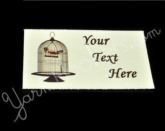 Bird in a Cage - White Cotton Custom Printed Labels / Sew in Clothing labels / Personalized Fabric Labels - For Crochet, Knit, Sewing