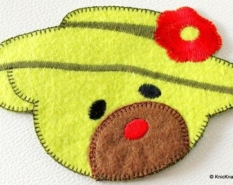 1 x Green Bear Embroidered Applique Patch