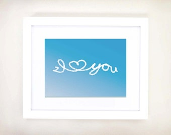 8x10 or 11x14 Horizontal I Love You Written in the Clouds Nursery Art Print | Child's Room Decor