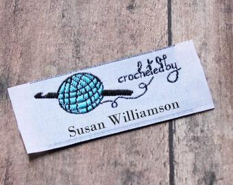 Crochet By Woven Labels, Crochet Tags, Custom Crochet Labels, Custom Clothing Labels, Personalized Labels for Crochet Projects