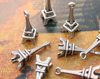 10 Eiffel Tower Charms Eiffel Tower Pendants Antiqued Tibetan Silver Doubled sided 3D 8 x 20 mm