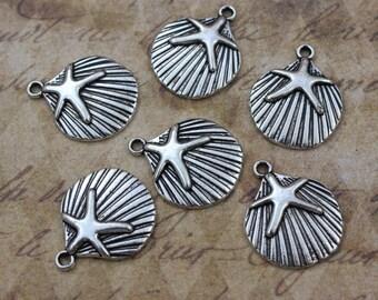 10 Sea Shell Charms Sea Shell Pendants Antiqued Silver Tone 19 x 19 mm