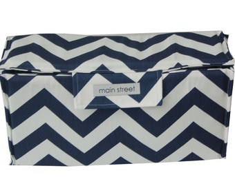 Navy Chevron Removable Medium camera insert with top