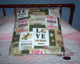 Love A Soldier Quillo  (A quilt In A Pillow)