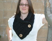 Chunky Black Cowl, Button Scarf, Crochet Cowl, Soft Scarf, Neck Warmer