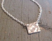 Tiny Silver Square Necklace  / Little Hammered Silver Necklace / Little Everyday Silver Necklace / Petite Silver Pendant