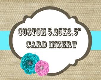 "Custom card insert / birthday invitation insert / 3.5x5.25"""