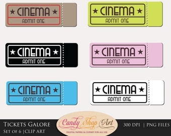 Movie Tickets Clipart, Movie Tickets Clip Art, Theatre Tickets, Cinema Tickets Clip Art - Instant Download