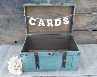 Decorative Wood Leather Turquoise Blue Suitcase Box and Cards Sign Banner ~ Photo Prop ~ Wedding Card Keepsake ~ Party ~ Distressed  Country