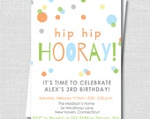 Hip Hip Hooray Birthday Invitation - Boy or Girl Birthday Party Invitation - Digital Design or Printed Invitations - FREE SHIPPING