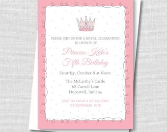 Royal Pink Princess Birthday Invitation - Princess Themed Birthday - Digital Design or Printed Invitations - FREE SHIPPING