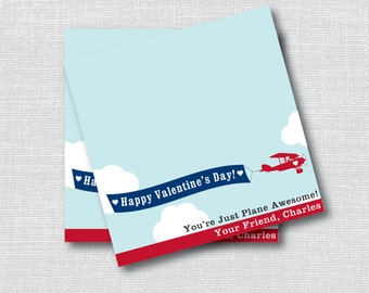 Vintage Airplane Valentine's Day Treat Bag Toppers - Valentine's Day Party Favor - Digital Design or Handcrafted - FREE SHIPPING