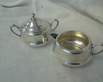 Crescent Silver Plate Creamer and Sugar Set 52 P