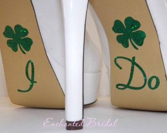 I Do Shoe Stickers With Lucky Shamrocks You Pick Color Sparkly Wedding Shoe Decals